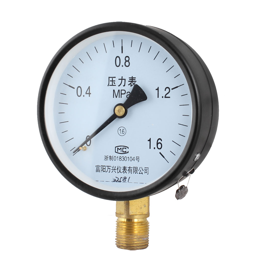 1.6Mpa Pressure Intensity PT 1/2 Threaded Connector Round Dial Water Gauge