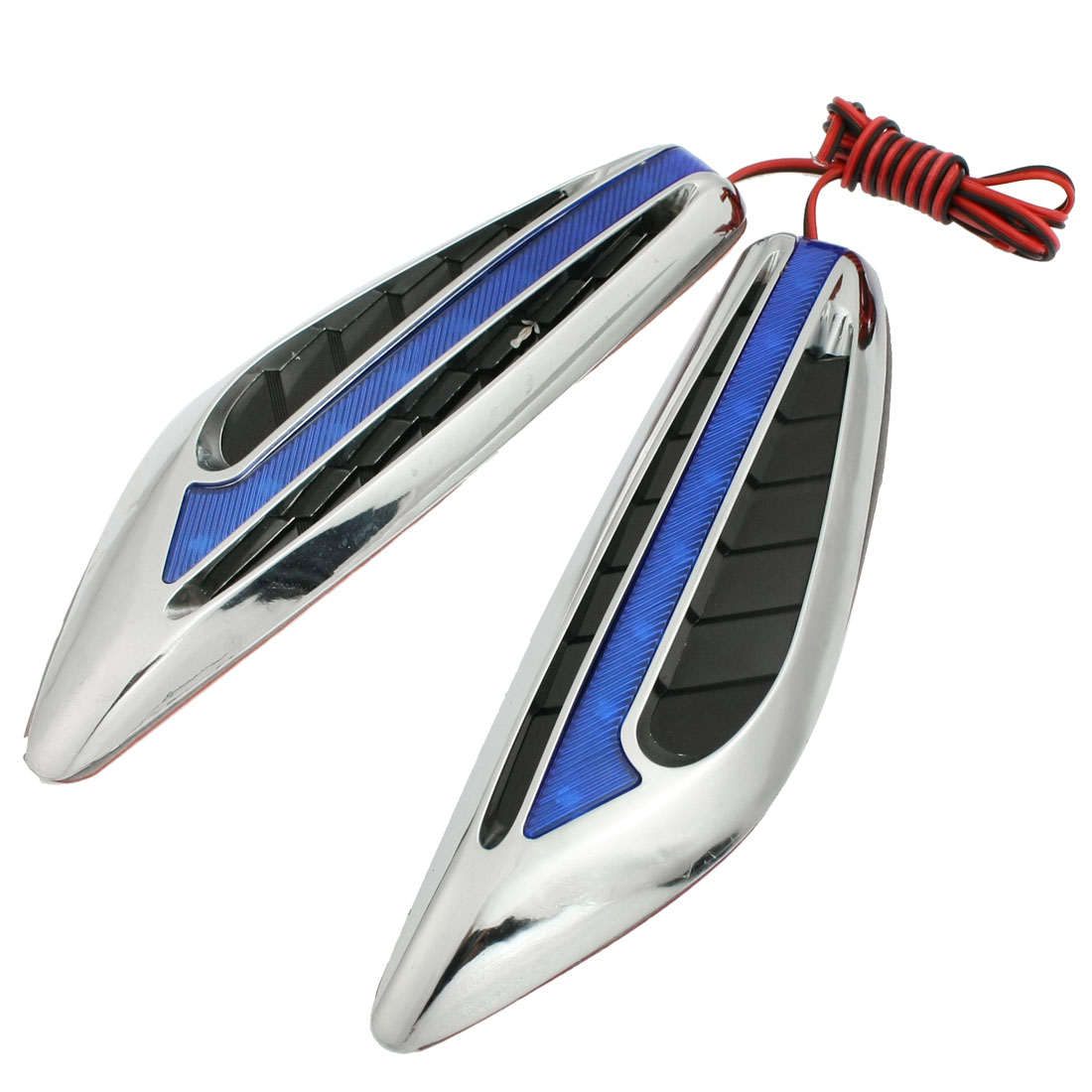 2 Pcs DC 12V Blue 8 LED Blade Shape Car Turning Signal Light Lamp