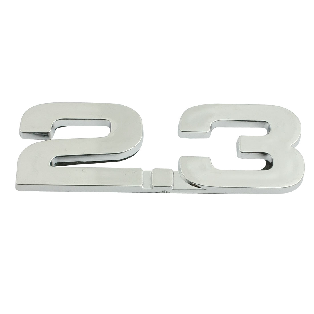 Silver Tone Alloy 2.3 Pattern Car Decorative Emblem Badge Sticker