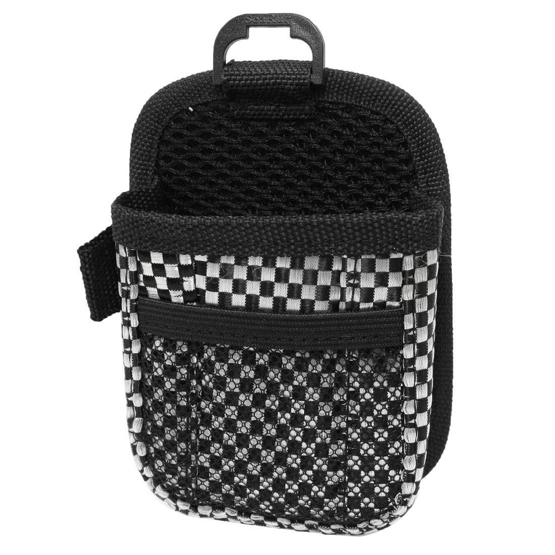 Auto Car Air Vent Black White Grid Pattern Cell Phone Pouch Holder