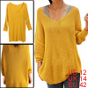 Ladies Deep V Neck Long Sleeves Loose Tunic Sweater Yellow L