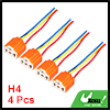 4 Pcs Car Auto Light Lamp Flat 3 Pin H4 Ceramic Socket Orange