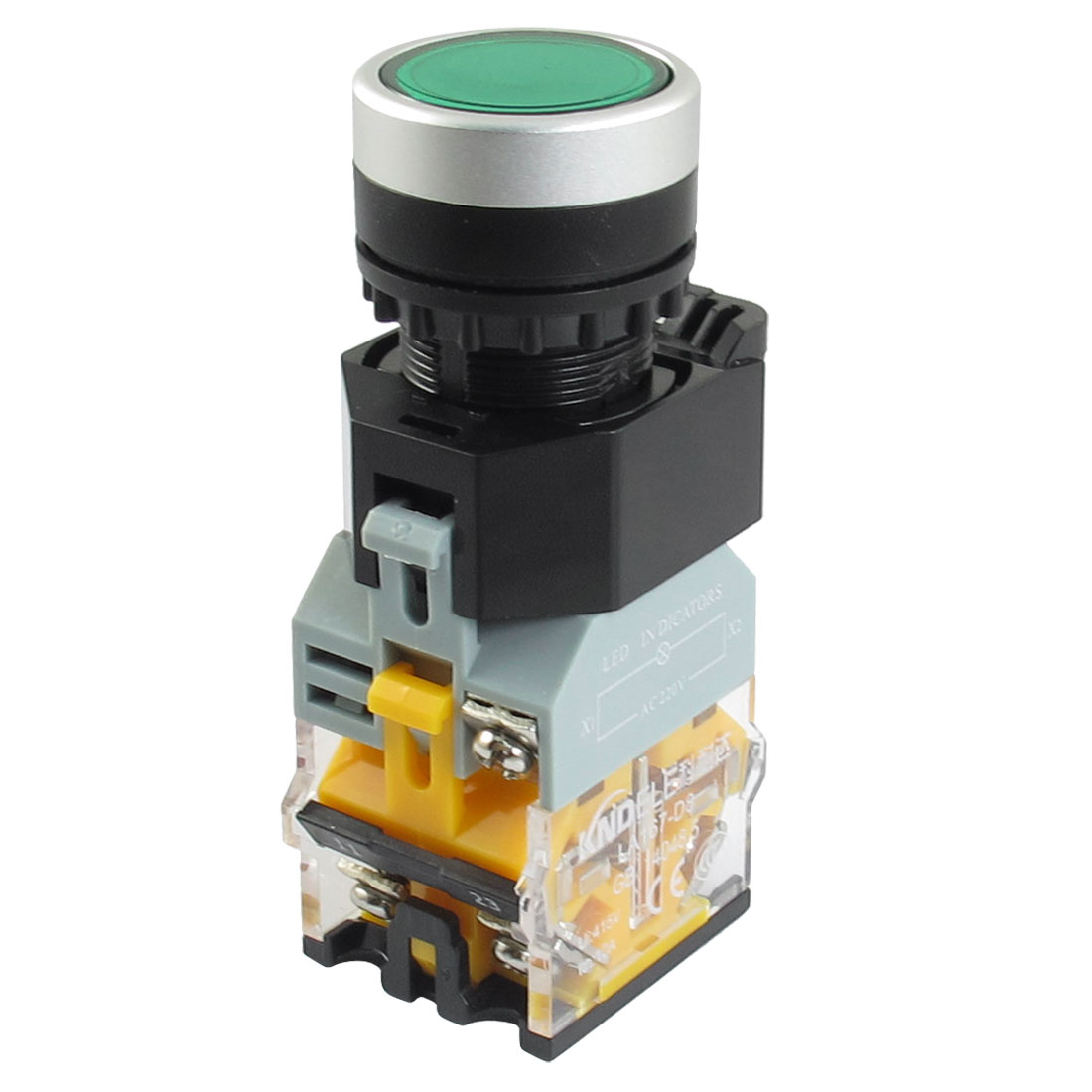 AC 415V 10A 1NO 1NC DPST Green Flat Momentary Push Button Switch w LED Light