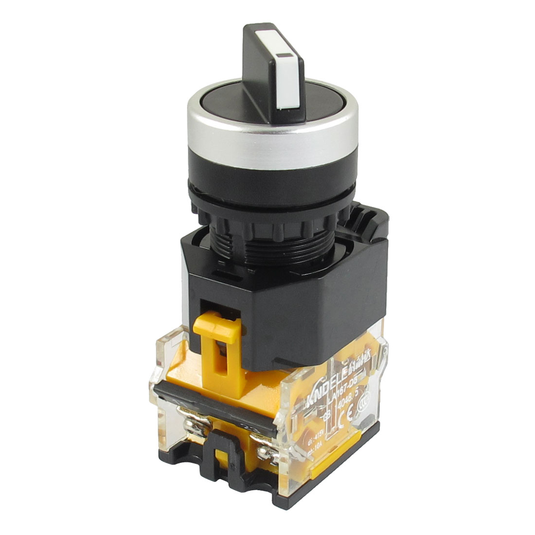 Panel Mounted 2 Position Selector Locking Pushbutton Switch 415VAC 10A 1NO 1NC