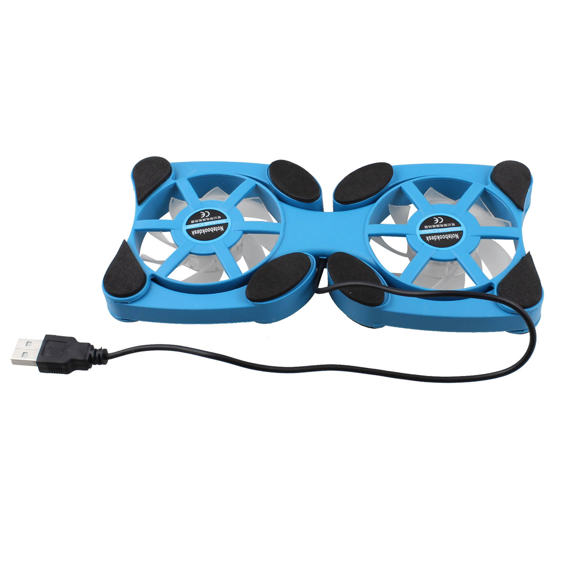 Laptop Notebook Blue Plastic Shell Foldable USB Cooler Cooling Fan Pad