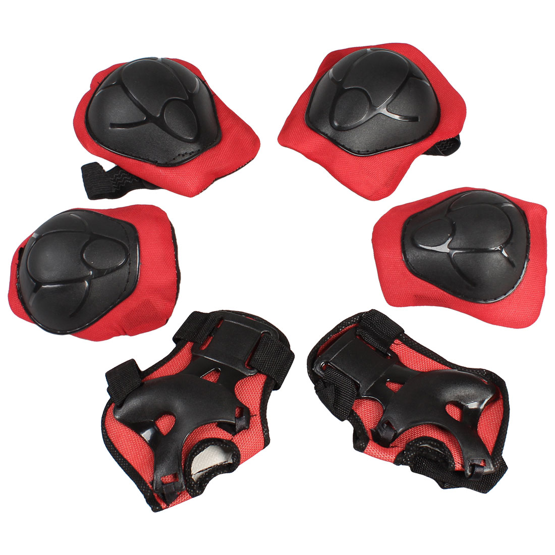 Set 6 in 1 Skating Palm Elbow Knee Support Protector Guard Red Black for Child