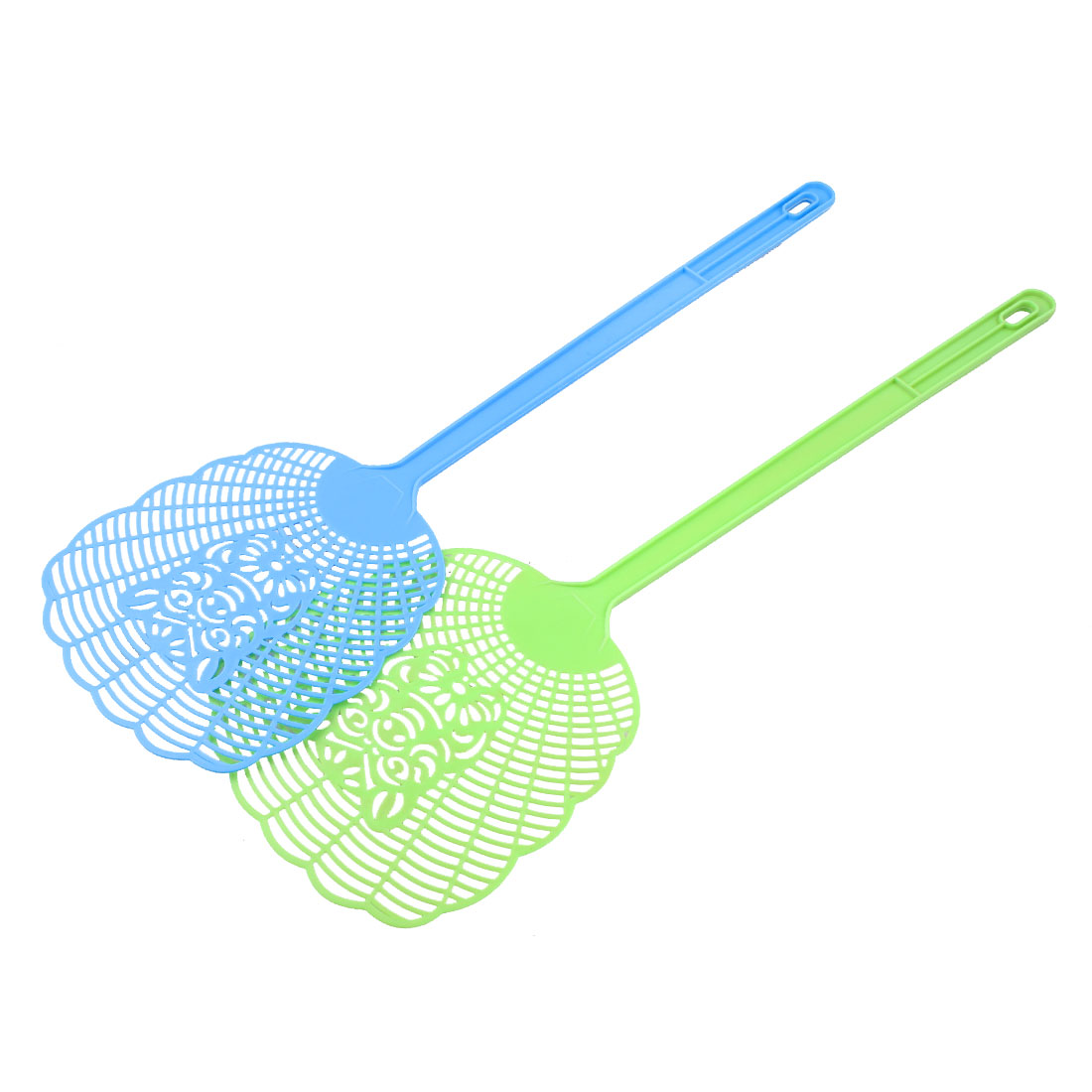 Blue Green Plastic Handle Pig Pattern Mosquito Cockroach Fly Swatter 2 Pcs