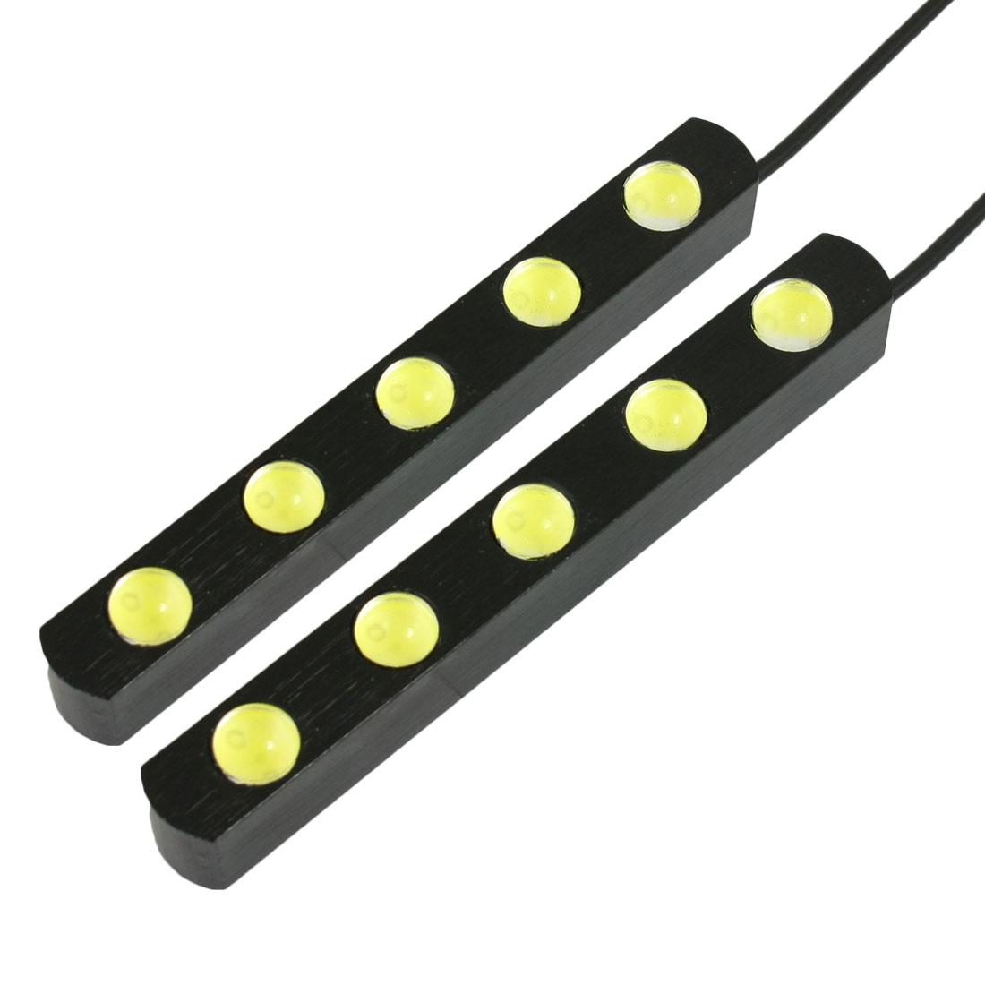 2 Pcs White 2x5 LEDs 0.5W Car DRL Daytime Running Light Lamp