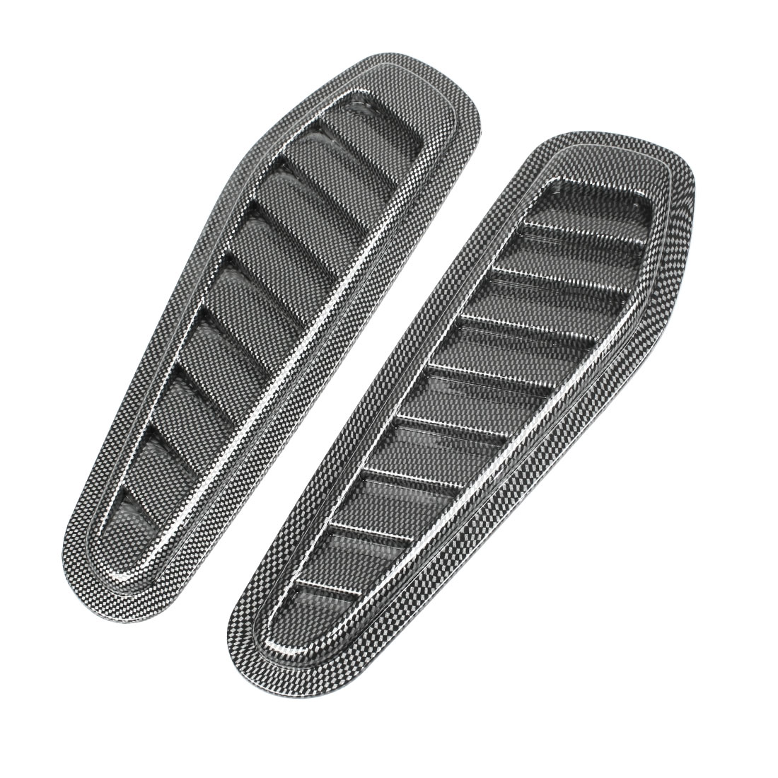 Check Pattern Car Engine Hood Air Scoop Vent Side Fender Cover Decor 2 Pcs