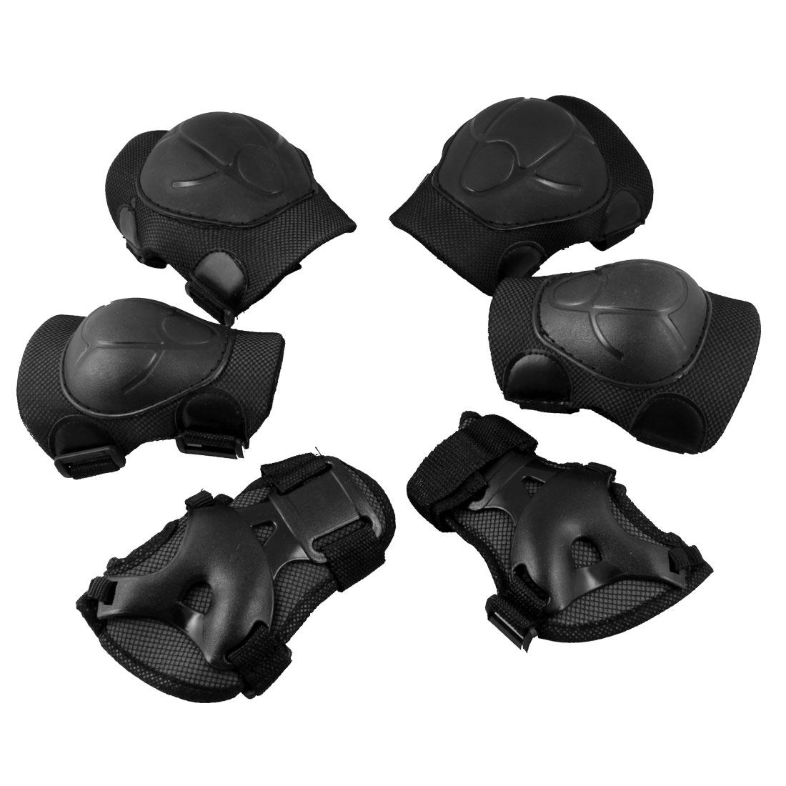Black Roller Skating Hook Loop Buckle Knee Palm Elbow Support Protector 6PCS