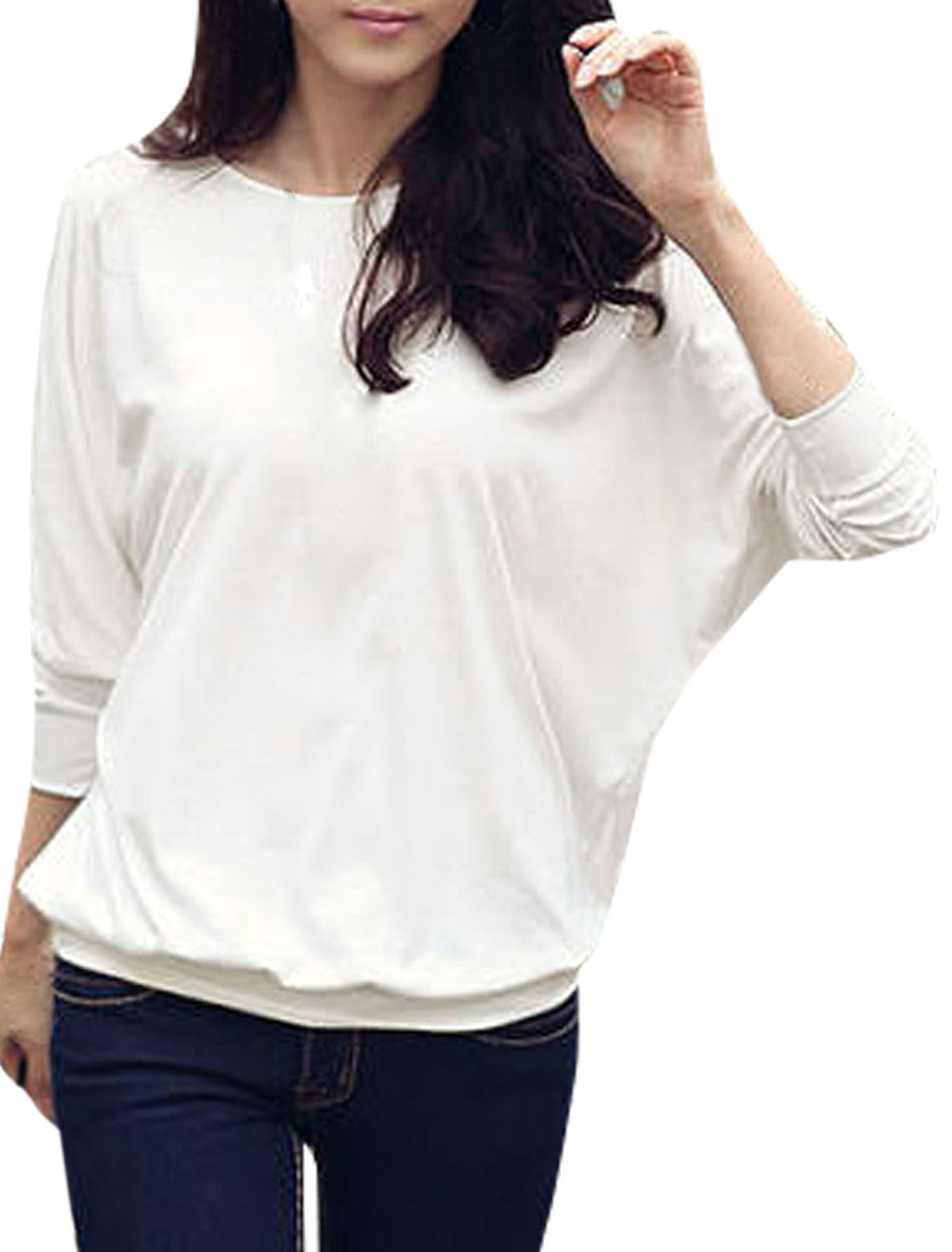 Ladies White Long Dolman Sleeve Mesh Decor Stretchy Autumn Casual Top Shirt L