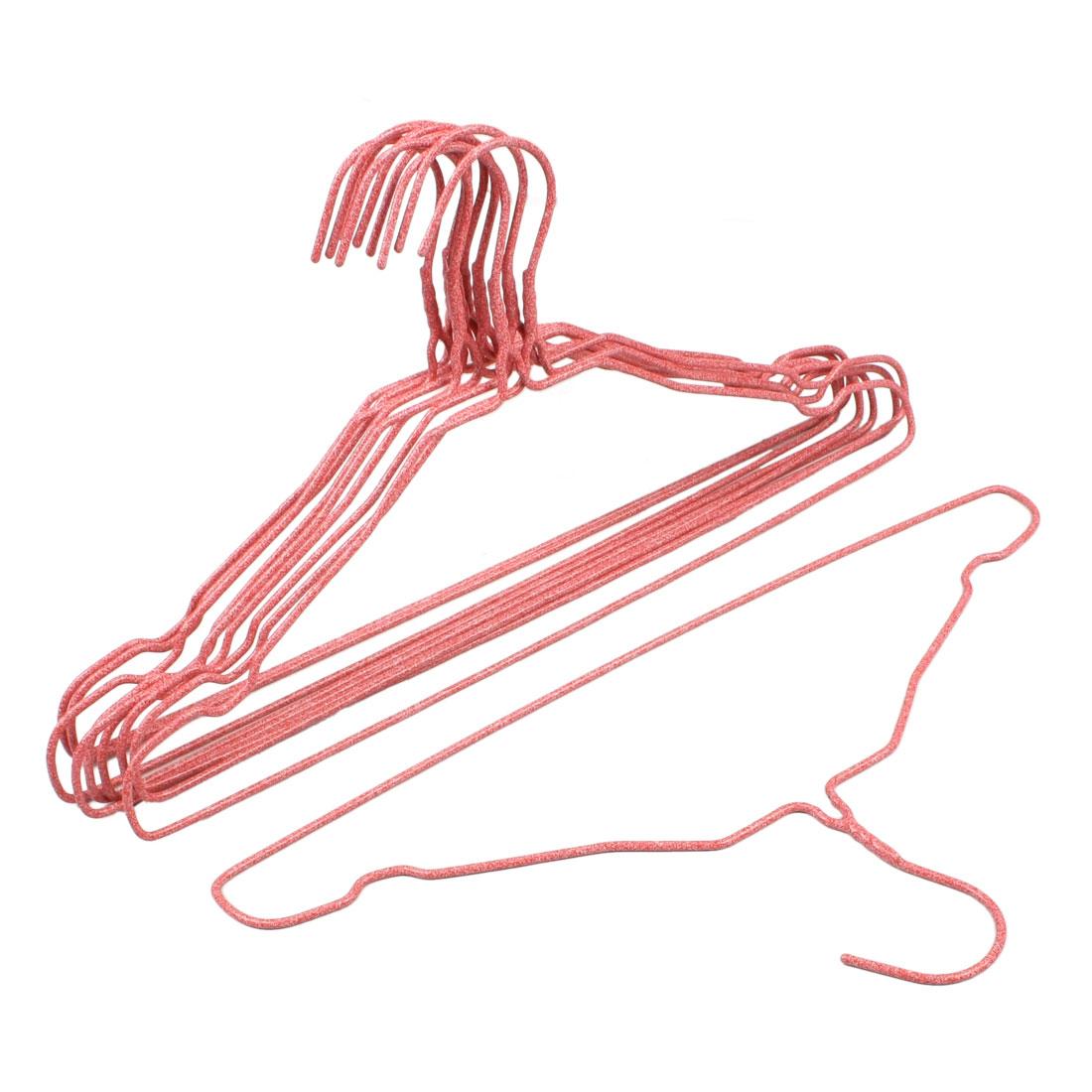 """Household 15.3"""" Long Plastic Light Red Overcoat Clothes Hanger Hook 10 Pcs"""