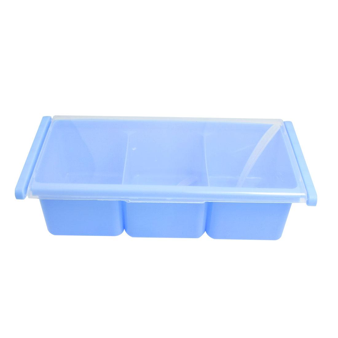 Blue Plastic 3 Compartments Salt Spices Condiment Container w Dual Spoons