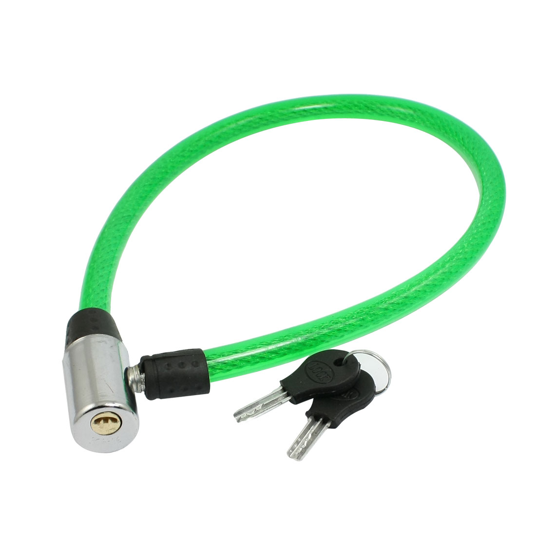 "24.4"" Green Flexible Bike Bicycle Motorcycle Security Cable Lock w Keys"