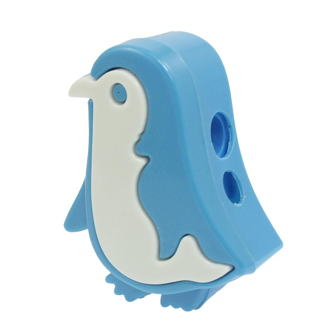Stationery Plastic Penguin Shape Double Holes Pencil Sharpener Light Blue