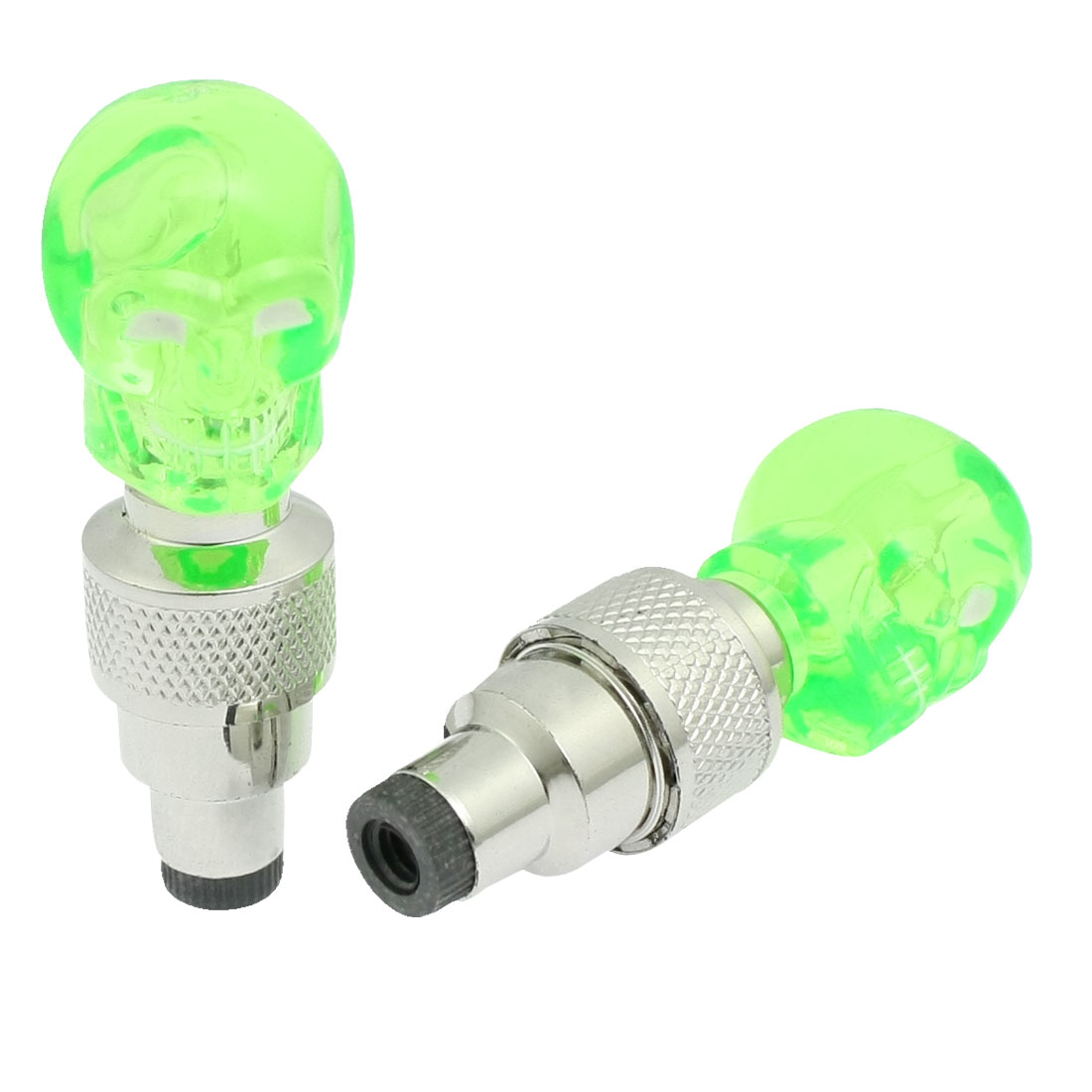 2 Pcs Green Plastic Skeleton Head Blue LED Motorcycle Car Tyre Tire Valve Cap Cover