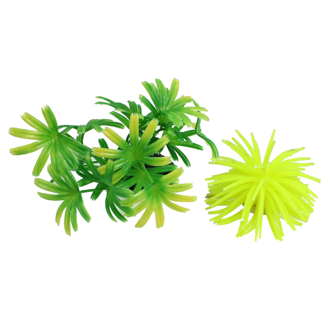 Aquarium Green Plastic Water Plants Yellowgreen Silicone Coral Fish Tank Decor 2 in 1