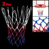 2 Pcs 12 Loop Nylon Braided Cord Knotted Red Blue White Basketball Net