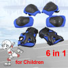 Skating Cycling Palm Elbow Knee Support Protector Pads Brace Blue Set 6 in 1
