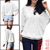 Lady White Round Neck Mesh Batwing Sleeve Casual Loose Blouse M
