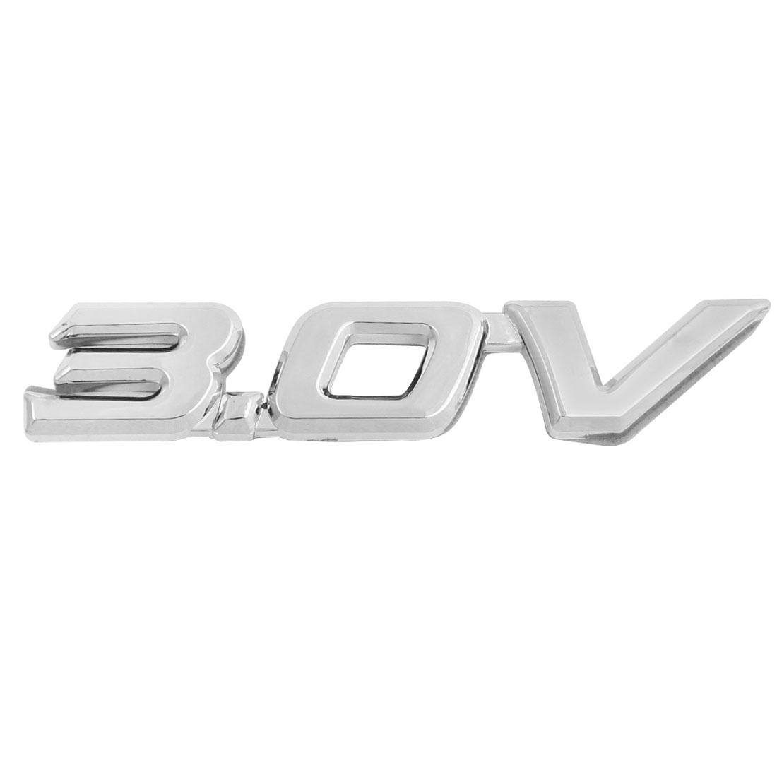 Silver Tone Plastic 3.0V Pattern Car Badge Sticker Emblem Decor