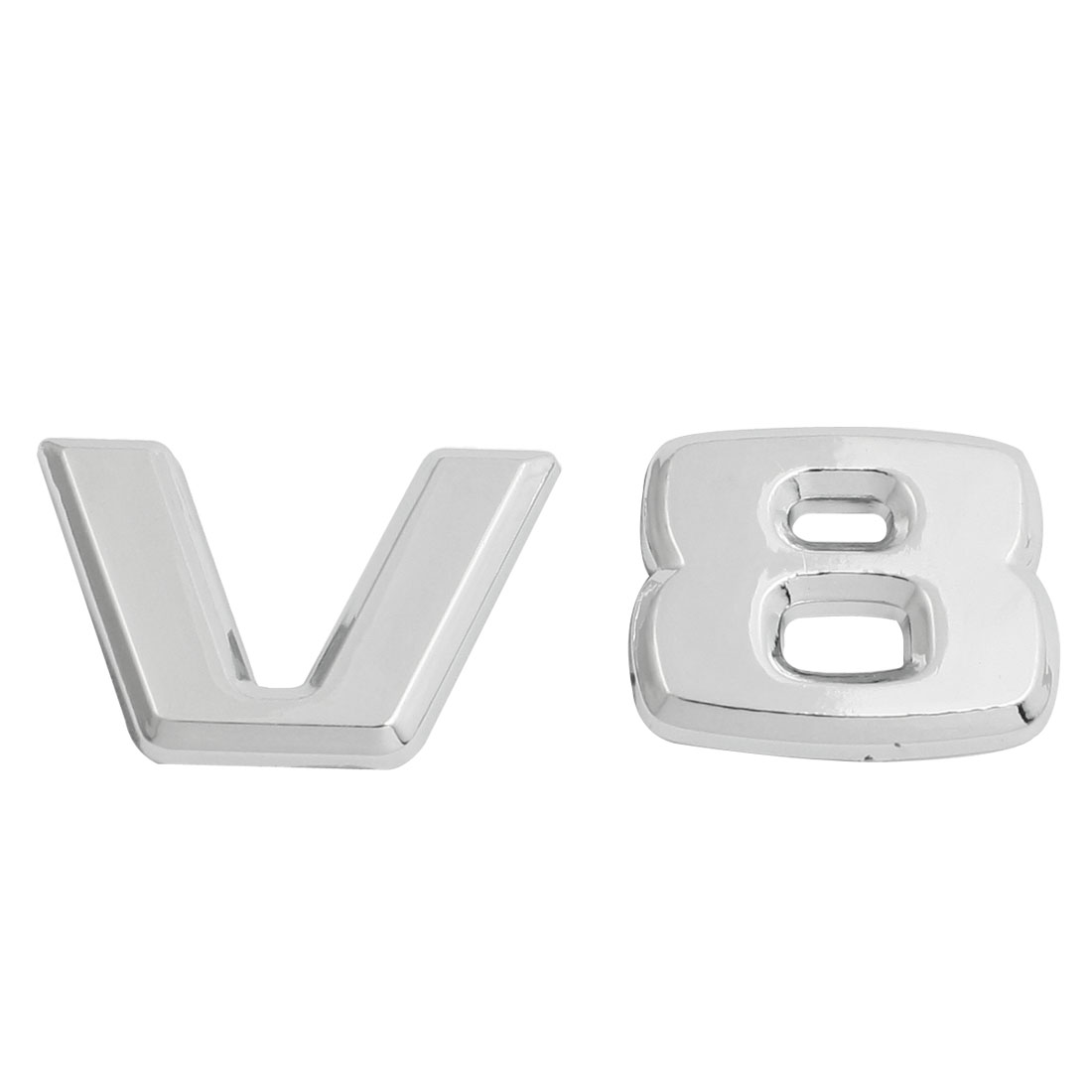 Silver Tone Plastic V8 Pattern Car Badge Sticker Emblem Decor