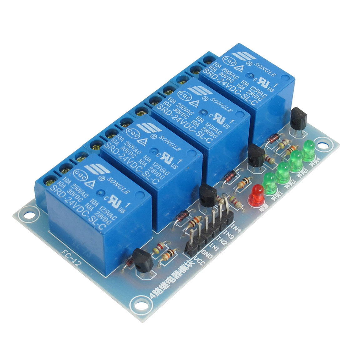 DC 24V 4-Channel Low Level Trigger Relay Module for ARM DSP AVR