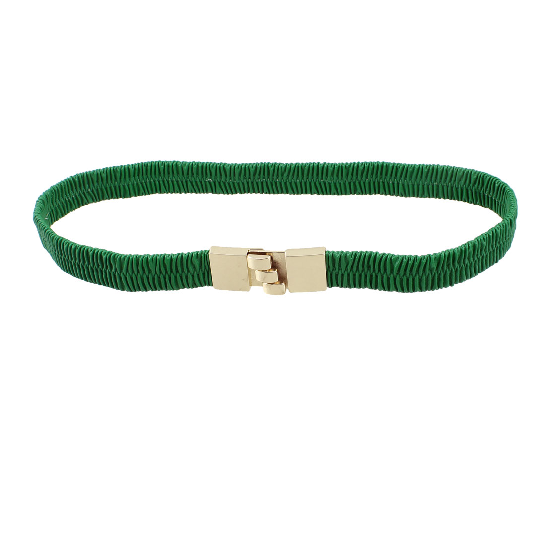 Green Corrugated Faux Leather Interlocking Buckle Waist Belt for Ladies
