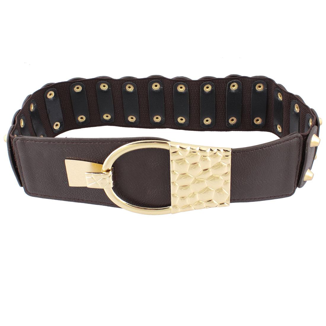 Studded Rivet Decor Brown Faux Leather Interlocking Buckle Elastic Cinch Belt