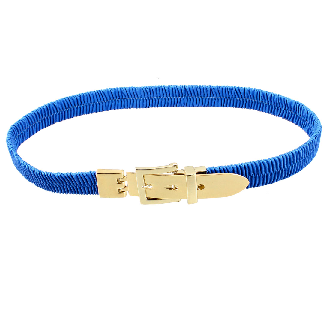 Blue Faux Leather Single Pin Buckle Elastic Waist Belt for Lady