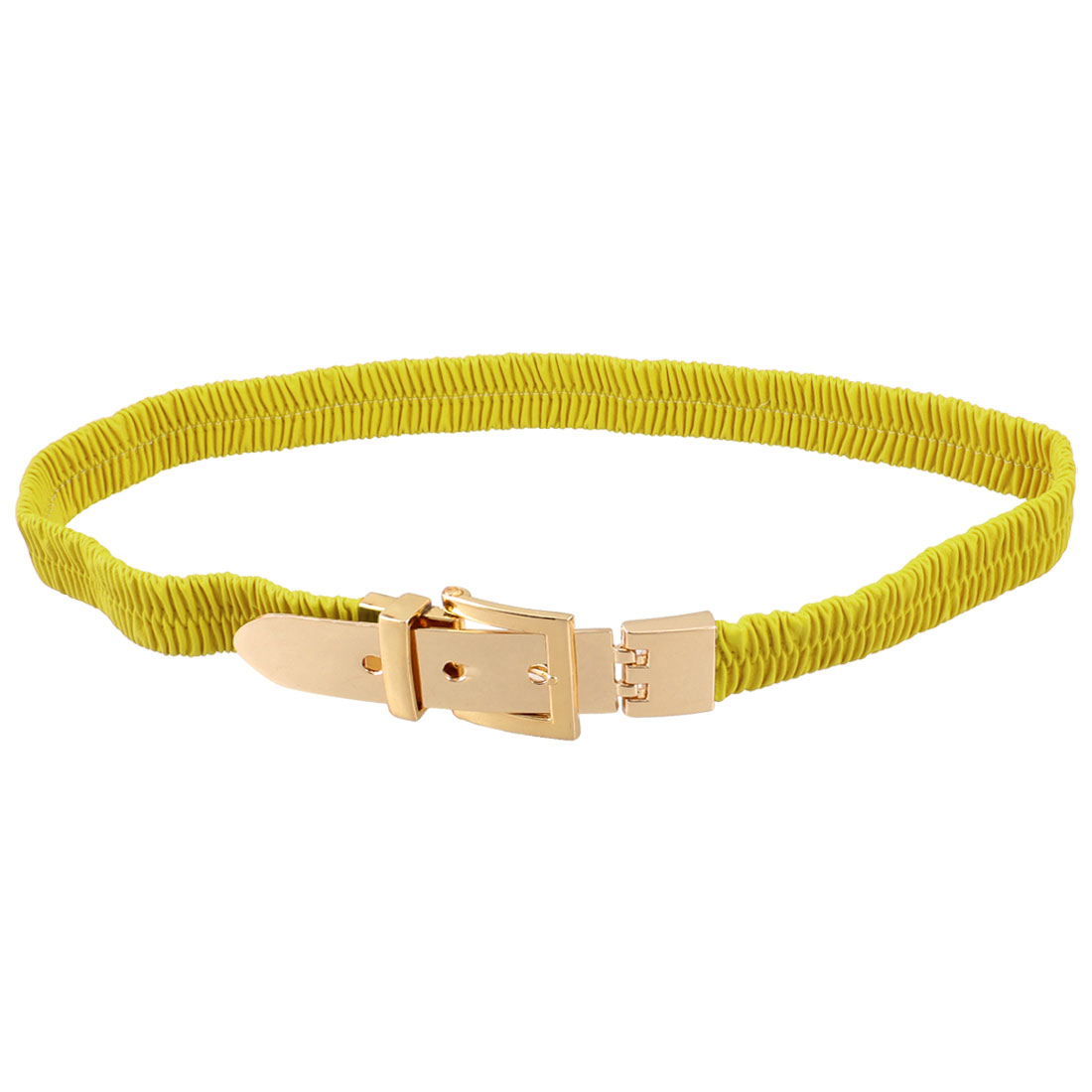 Women Single Pin Buckle Yellow Green Faux Leather Elastic Waist Belt