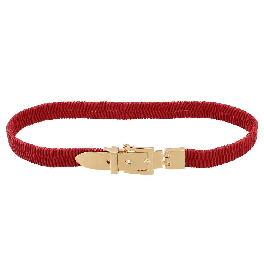 Lady Single Pin Buckle Red Faux Leather Elastic Waist Belt