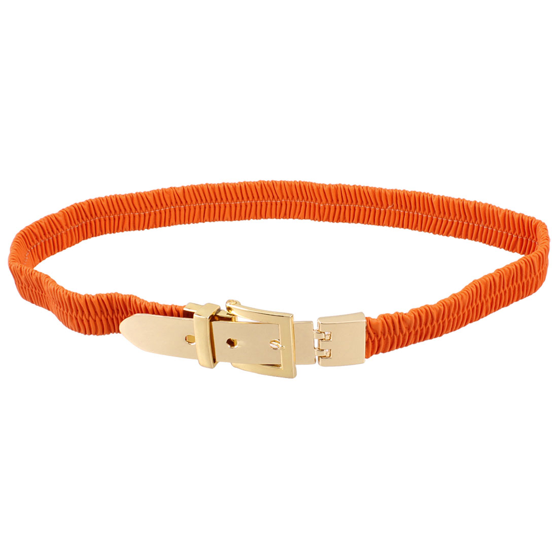Lady Single Pin Buckle Orange Faux Leather Elastic Waist Belt