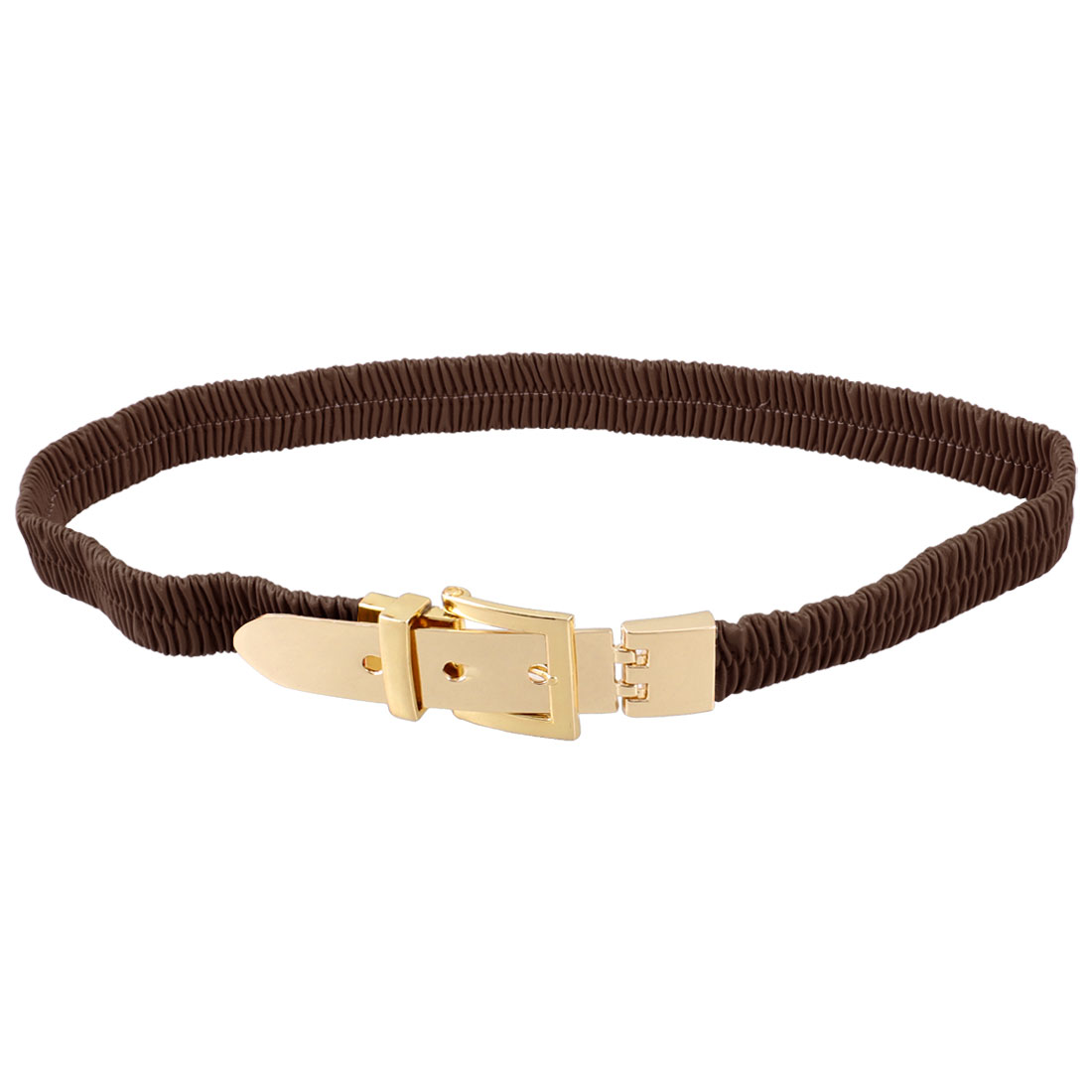 Lady Single Pin Buckle Coffee Color Faux Leather Elastic Waist Belt