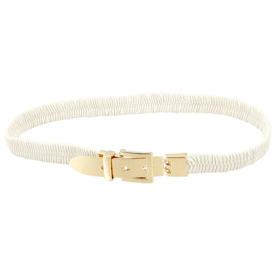 Lady Single Pin Buckle White Faux Leather Elastic Waist Belt