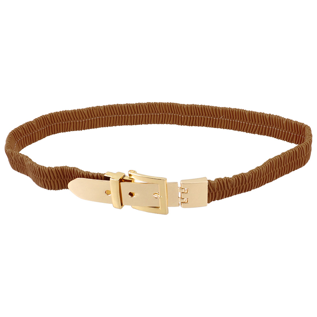 Lady Single Pin Buckle Brown Faux Leather Elastic Waist Belt
