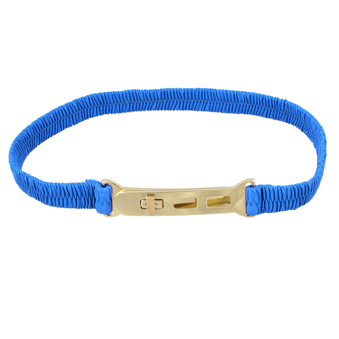 Metal Turn Lock Buckle Blue Elastic Waist Cinch Belt for Lady