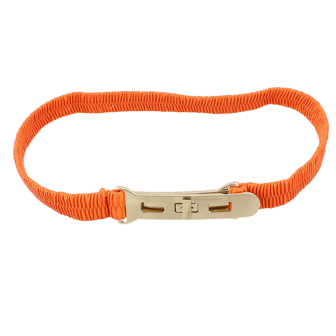 Metal Turn Lock Buckle Orange Elastic Waist Cinch Belt for Lady