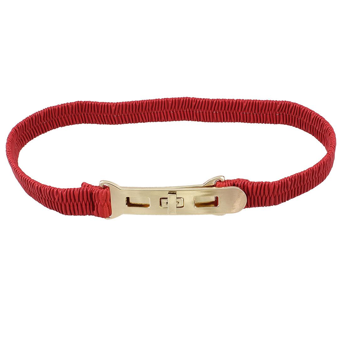 Metal Turn Lock Buckle Red Elastic Waist Cinch Belt for Lady