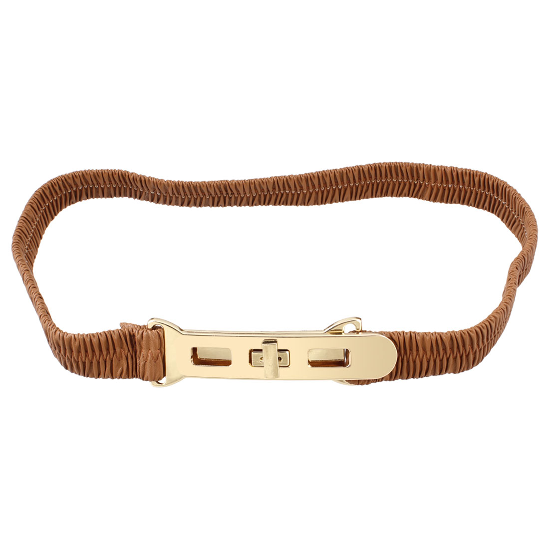 Metal Turn Lock Buckle Brown Elastic Waist Cinch Belt for Lady
