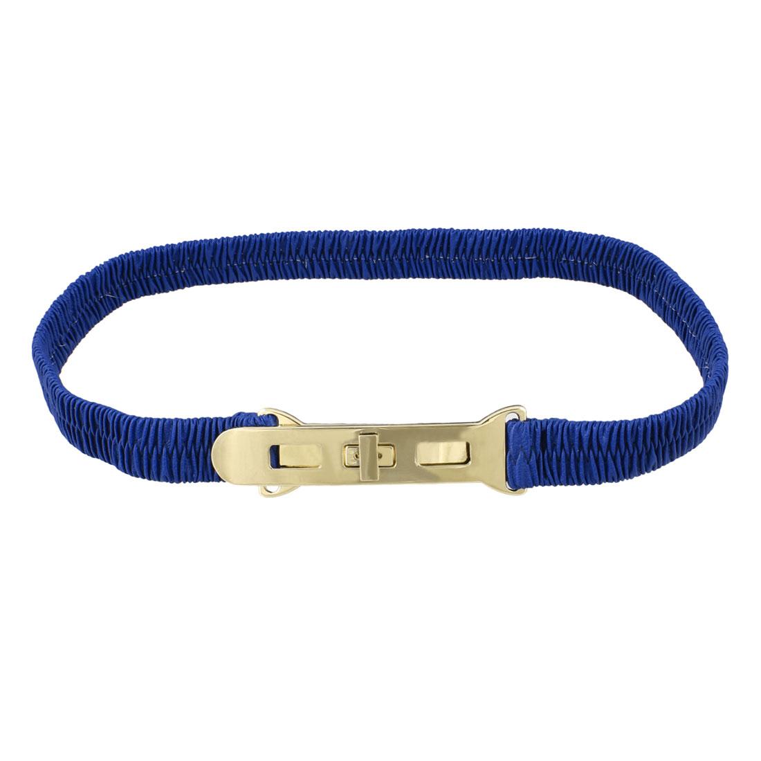 Woman Metal Turn Lock Buckle Dark Blue Elastic Waist Cinch Belt