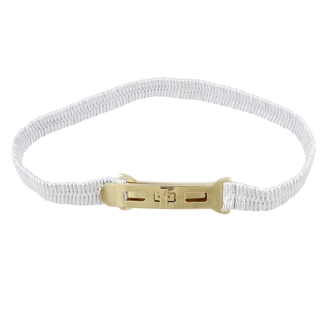 Metal Turn Lock Buckle Silver Tone Elastic Waist Cinch Belt for Lady