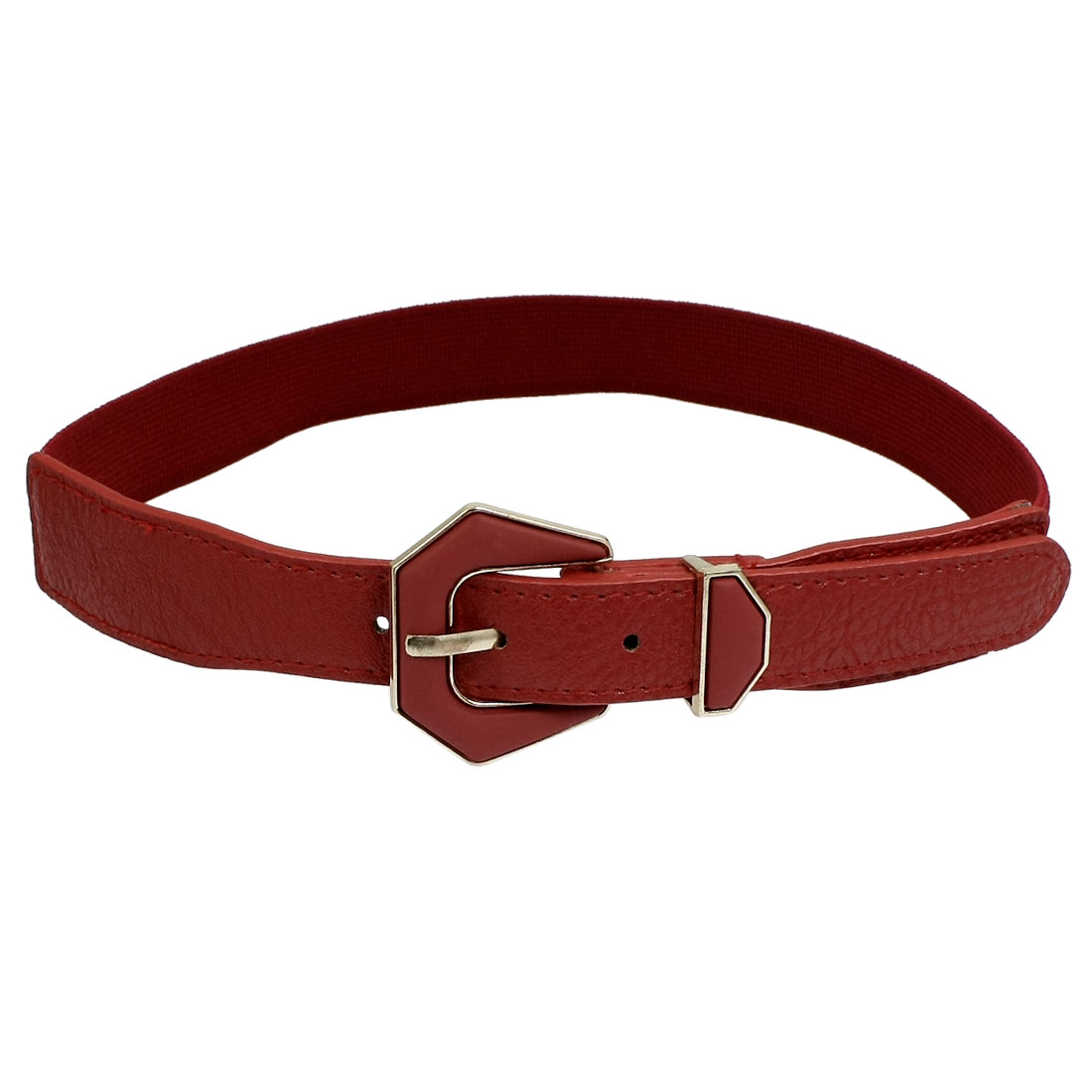 Single Prong Buckle Red Faux Leather Elastic Waist Belt Waistband for Lady