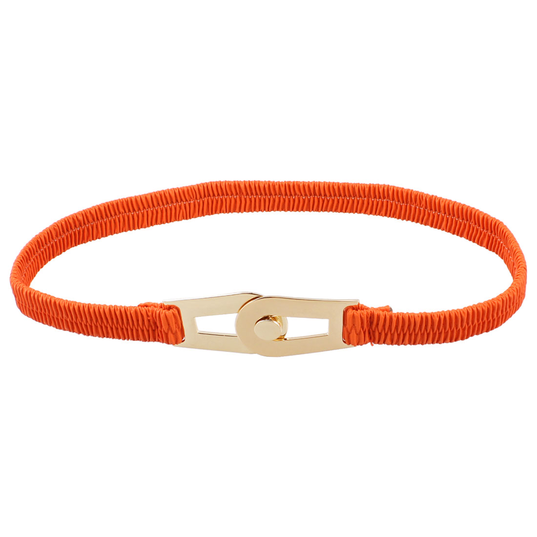 Orange Faux Leather Interlocking Buckle Elastic Waist Cinch Belt for Woman