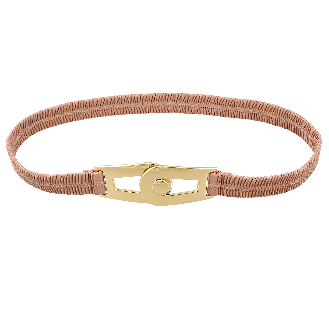 Pink Faux Leather Interlocking Buckle Elastic Waist Cinch Belt for Woman