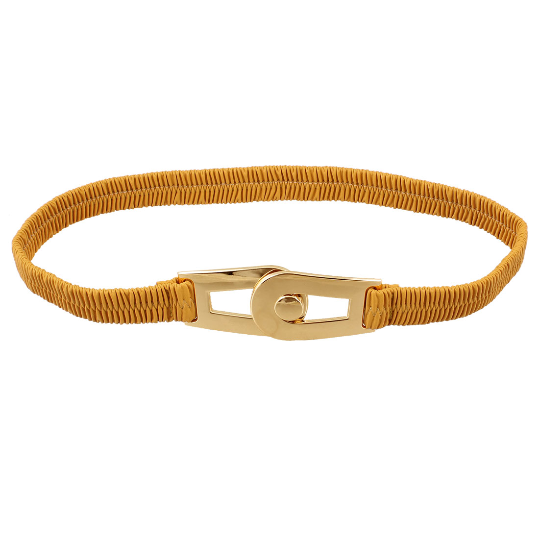 Yellow Faux Leather Interlocking Buckle Elastic Waist Cinch Belt for Woman