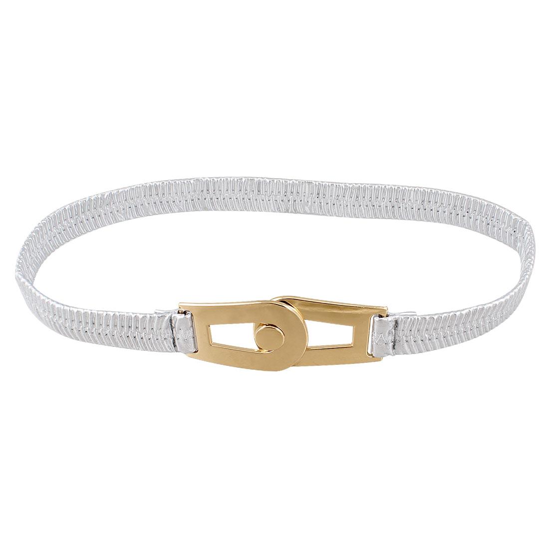 Silver Tone Faux Leather Interlocking Buckle Elastic Waist Cinch Belt for Woman