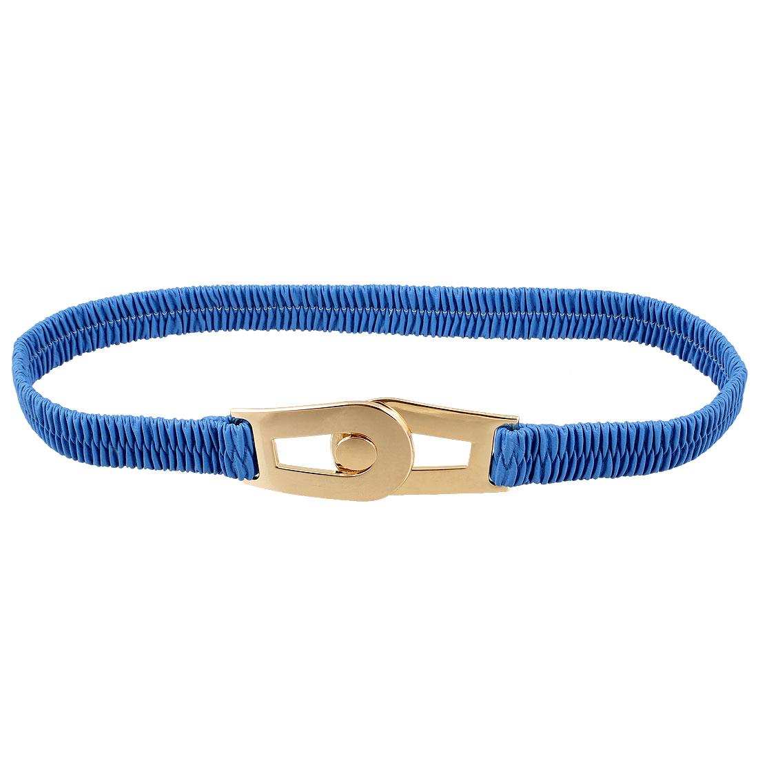Blue Faux Leather Interlocking Buckle Elastic Waist Cinch Belt for Woman