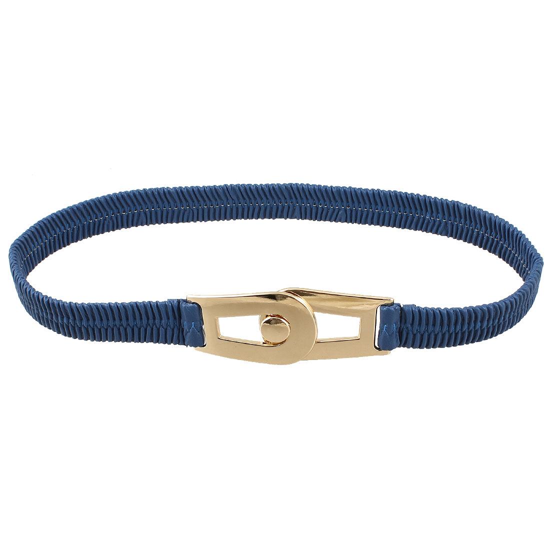 Lady Dark Blue Faux Leather Interlocking Buckle Elastic Waist Cinch Belt