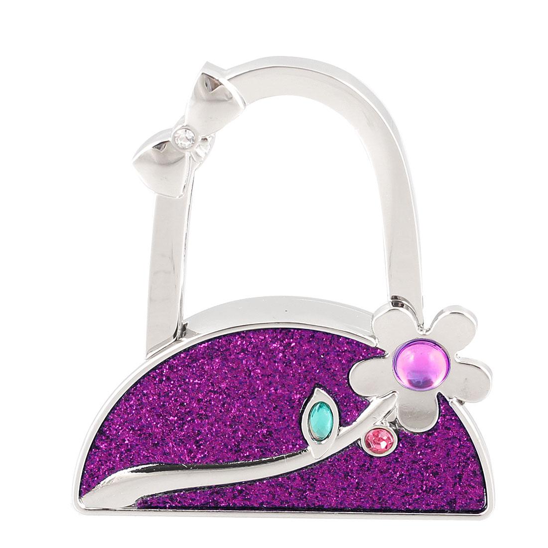 Purple Powder Inlaid Flower Design Handbag Folding Hook Table Holder
